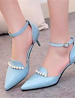 Zapatos de mujer-Tacón Kitten-Tacones-Tacones-Oficina y Trabajo / Vestido-Semicuero-Negro / Azul / Rosa / Blanco