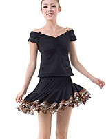 Latin Dance Outfits Women's Training Milk Fiber Draped / Pattern/Print / Pleated 2 Pieces Black Latin Dance Short Sleeve Natural