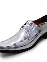 Черный Серебряный-Для мужчин-Для прогулок Для офиса Повседневный Для вечеринки / ужина-Лакированная кожаФормальная обувь-Туфли на шнуровке