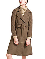 Women's Solid Blue / Brown Coat,Simple Long Sleeve Wool