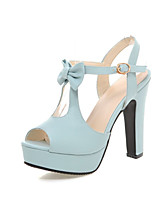 Women's Shoes Leatherette Chunky Heel Heels Sandals Wedding / Office & Career / Party & Evening /  Blue / Pink /