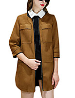Women's Solid Brown Coat,Simple ¾ Sleeve Polyester