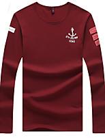 Men's Long Sleeve T-Shirt,Cotton / Spandex Casual Print