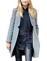 Women's Solid Black / Gray Coat,Simple Long Sleeve Wool