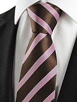 KissTies Men's Striped Pink Brown Luxury Microfiber Tie Necktie For Wedding Holiday With Gift Box