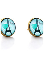 Lureme® Vintage Jewelry Time Gem Series Eiffel Tower with Heart Antique Bronze Disc Stud Earrings for Women and Girl