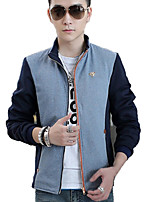 Men's Spring Plus Sizes Color Block Leisure Stand collar Long Sleeve Jacket