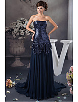 Formal Evening Dress A-line Strapless Sweep / Brush Train Chiffon / Sequined with Draping