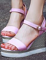Scarpe Donna-Sandali-Formale-Zeppe / Plateau / Con cinghia / Aperta-Zeppa-Finta pelle-Giallo / Rosa