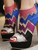 Chaussures Femme-Mariage / Habillé / Décontracté / Soirée & Evénement-Violet-Talon Aiguille-Bout Ouvert-Sandales-Synthétique