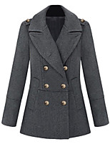 Women's Solid Black / Gray Pea Coats,Simple / Street chic Long Sleeve Wool