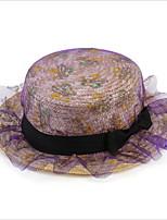 Lei Mesh Yarn Bow Straw Hat