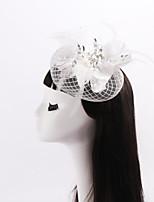 Dame / Blomsterpige Sateng / Fjær / Rhinestone / Nett Headpiece Bryllup / Spesiell Leilighet / Avslappet fascinatorsBryllup / Spesiell