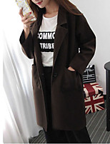Women's Solid Brown Coat,Simple Long Sleeve Polyester