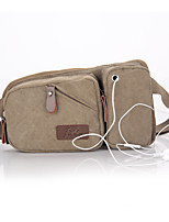 New Men's Canvas Pockets With Headphone Jack Fashion Sports Man Bag