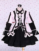 Steampunk® Cute Lace Up Pink and Black Cotton Gothic Lolita Dress