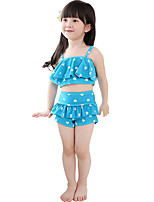 Baby Girl's Summer 2pcs/set Swimsuit Navy Blue/Blue/Pink/Red Swimwear,Polka Dot / Ruffle Polyester / Spandex for 2~7 Y