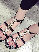 Women's Shoes Synthetic Flat Heel Peep Toe Sandals Office & Career / Casual Black / White