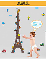 MJ8023 Cartoon Eiffel Tower Measurement of Height DIY Wall Stickers Nursery Kids Room Home Decor Mural Decal