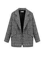 Women's Striped Black Coat,Simple Long Sleeve Polyester