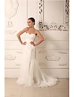 Sheath/Column Wedding Dress-Ivory Court Train Sweetheart Organza / Satin