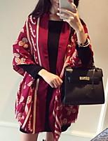 Women Clover Design Large  Silk Shawl Printed Colorful Shawls Scarf