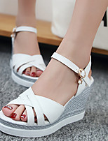 Women's Shoes Wedge Heel Wedges / Peep Toe / Platform Sandals Party & Evening / Dress/ Pink / White / Almond