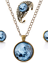 Lureme® Time Gem Series Vintage Earth Pendant Necklace Stud Earrings Hollow Flower Bangle Jewelry Sets