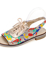 Women's Shoes Low Heel Peep Toe Sandals Casual Black / Silver / Gold