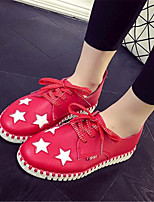 Women's Shoes Leatherette Flat Heel Comfort Fashion Sneakers Outdoor / Athletic Black / Red / White