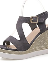 Women's Shoes Suede Wedge Heel Wedges Sandals Party & Evening / Dress / Casual Black / Gray