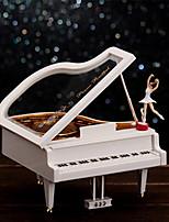 Piano Shape For Elise Music Box Plastic White / Gold