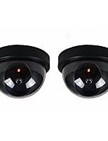 2 stuks / pak indoor outdoor cctv valse security dummy dome camera met flahsing rode led licht