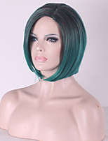 Top Quality Black Gradient Green BOBO Synthetic Hair Wig