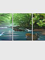 Moderni / Pop Art / Eläin / Landscape Canvas Tulosta 3 paneeli Valmis Hang,Neliö