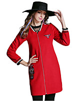 Women's Print Red / Black Coat,Plus Size / Simple Long Sleeve Polyester