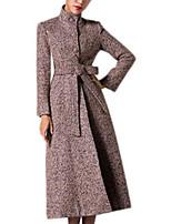 Women's Solid Purple Pea Coats,Vintage / Street chic Long Sleeve Wool