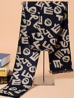 Korean Men Warm Winter Scarves Fashion Long Thick Wool Cashmere Letters Printed Scarf