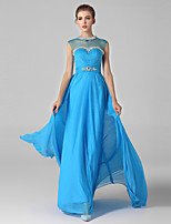 Formal Evening Dress-Ocean Blue Ball Gown High Neck Sweep/Brush Train Chiffon / Tulle