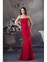 Formal Evening Dress-Ruby Trumpet/Mermaid Strapless Floor-length Lace