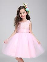 A-line Knee-length Flower Girl Dress-Lace / Satin / Tulle Sleeveless