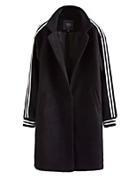 Women's Striped Black Coat,Simple / Street chic Long Sleeve Polyester