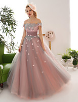 Princess Wedding Dress-Pearl Pink Floor-length Off-the-shoulder Lace / Tulle