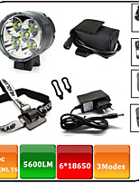 5 CREE XML T6 Bicycle Light  / Headlamps 3 Mode 5600 Lumens Waterproof / Rechargeable / Impact Resistant / Anti Slip