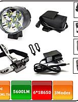 Fietsverlichting,Koplampen / Hoofdlampen-3 Mode 5600 Lumens Waterdicht / Oplaadbaar / Schokbestendig / antislip 18650x8.4V 6600mAh