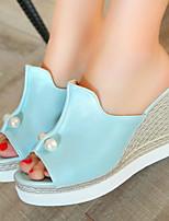 Zapatos de mujer-Tacón Cuña-Cuñas / Plataforma / Talón Descubierto / Punta Abierta-Sandalias / Tacones-Vestido-Semicuero-Negro / Azul /