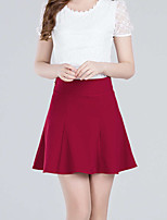 Women's Solid Red Black Skirts,Casual  Day  Simple Above Knee