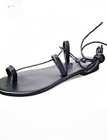 Women's Shoes Leatherette Flat Heel Comfort Sandals Outdoor / Dress / Casual Black / White