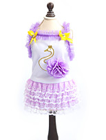 Dress for Dogs / Cats Yellow / Purple Summer / Spring/Fall Fashion XS / S / M / L / XL Cotton-Lovoyager