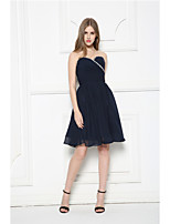 Knee-length Chiffon Bridesmaid Dress-Dark Navy Strapless
